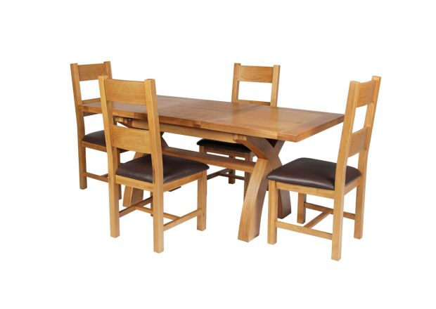 Country Oak 180cm Extending Cross Leg Square Table and 4 Chester Brown Leather Chairs
