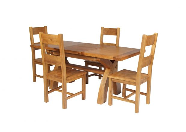 Country Oak 180cm Extending Cross Leg Square Table and 4 Chester Timber Seat Chairs
