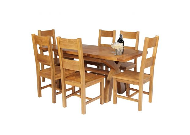 Country Oak 180cm Extending Cross Leg Square Table and 6 Chester Timber Seat Chairs
