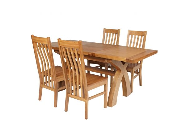 Country Oak 180cm Extending Cross Leg Square Table and 4 Chelsea Timber Seat Chairs