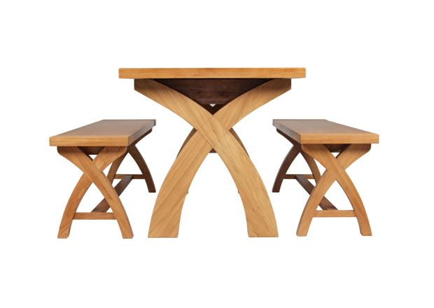 Country Oak 180cm Extending Cross Leg Table and 2 120cm Cross Leg Bench Set