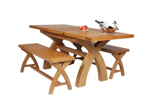 Country Oak 180cm Extending Cross Leg Square Table and 2 120cm Cross Leg Bench Set
