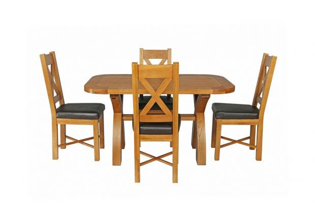 Country Oak 140cm Cross Leg Fixed Oval Table and 4 Grasmere Brown Leather Chairs