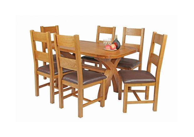 Country Oak 140cm Cross Leg Fixed Oval Table and 6 Chester Brown Leather Chairs