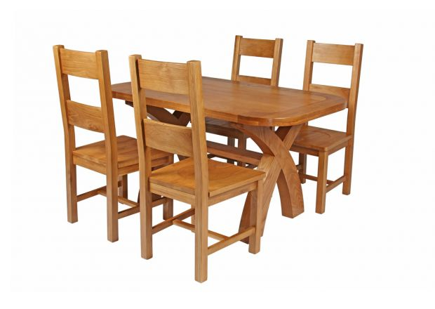 Country Oak 140cm Cross Leg Fixed Oval Table and 4 Chester Timber Seat Chairs