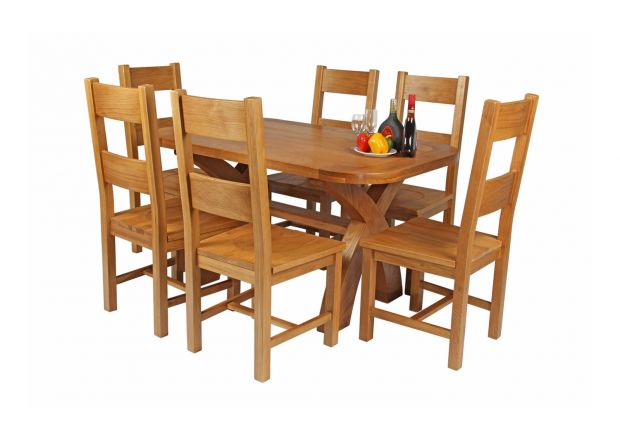 Country Oak 140cm Cross Leg Fixed Oval Table and 6 Chester Timber Seat Chairs