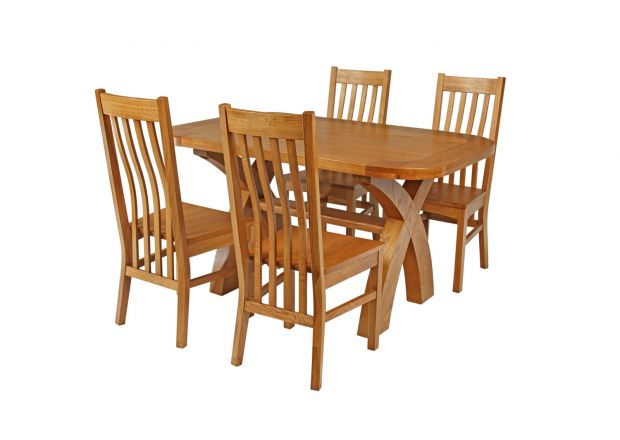 Country Oak 140cm Cross Leg Fixed Oval Table and 4 Chelsea Timber Seat Chairs