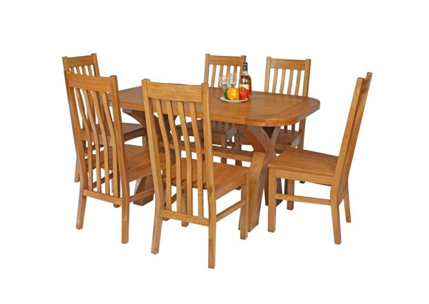 Country Oak 140cm Cross Leg Fixed Oval Table and 6 Chelsea Timber Seat Chairs