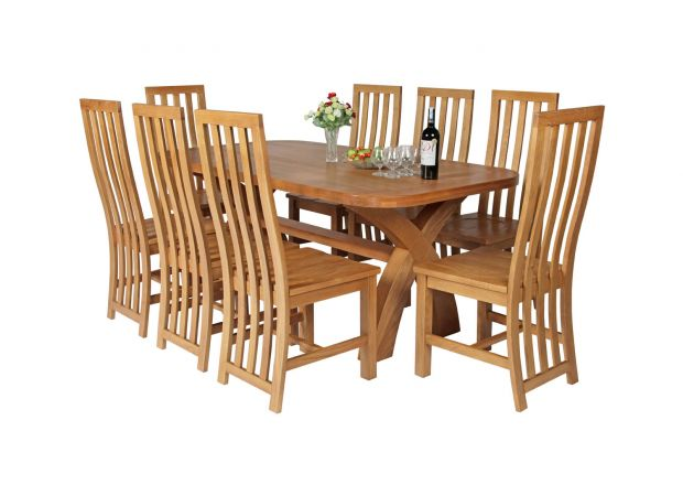 Country Oak 180cm Cross Leg Fixed Oval Table and 8 Dorchester Timber Seat Chairs