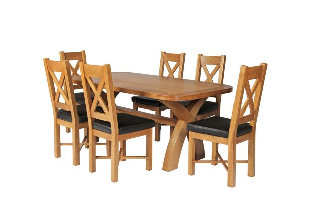 Country Oak 180cm Cross Leg Fixed Oval Table and 6 Grasmere Brown Leather Chairs