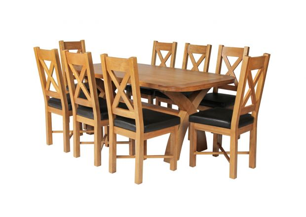 Country Oak 180cm Cross Leg Fixed Oval Table and 8 Grasmere Brown Leather Chairs