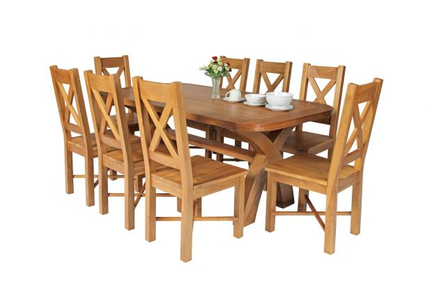 Country Oak 180cm Cross Leg Fixed Oval Table and 8 Grasmere Timber Seat Chairs
