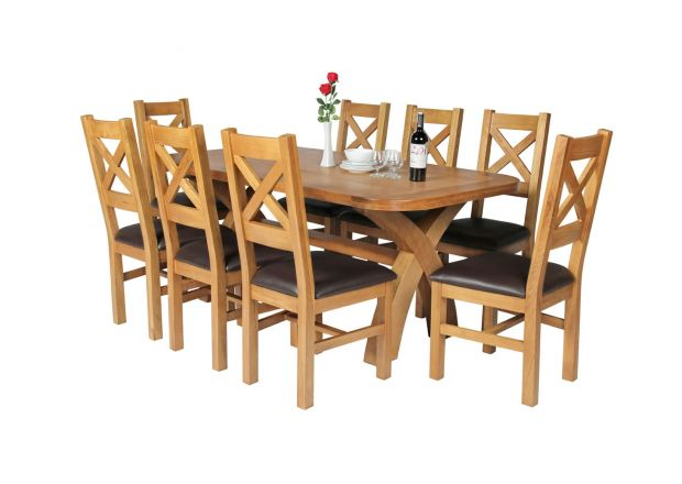 Country Oak 180cm Cross Leg Fixed Oval Table and 8 Windermere Brown Leather Chairs