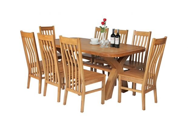Country Oak 180cm Cross Leg Fixed Oval Table and 8 Chelsea Timber Seat Chairs