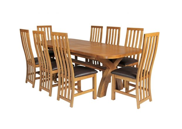 Country Oak 280cm Extending Cross Leg Oval Table and 8 Dorchester Brown Leather Chairs