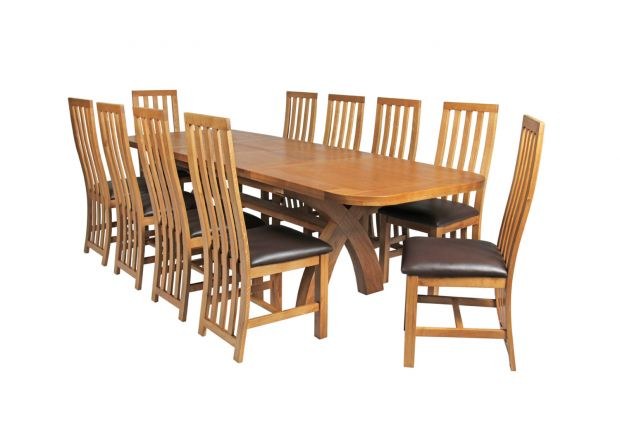 Country Oak 280cm Extending Cross Leg Oval Table and 10 Dorchester Brown Leather Chairs