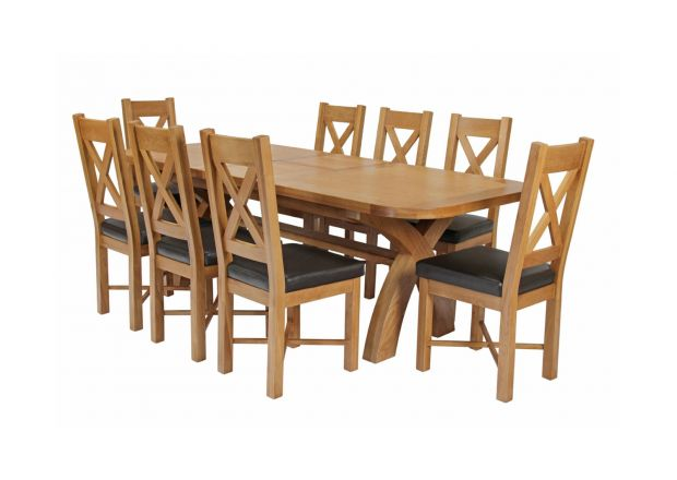 Country Oak 280cm Extending Cross Leg Oval Table and 8 Grasmere Brown Leather Chairs
