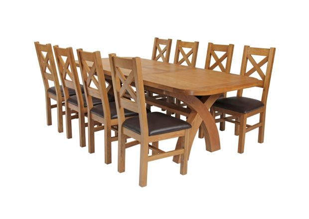 Country Oak 280cm Extending Cross Leg Oval Table and 8 Windermere Brown Leather Chairs