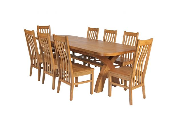 Country Oak 280cm Extending Cross Leg Oval Table and 8 Chelsea Timber Seat Chairs