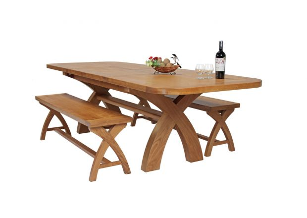 Country Oak 280cm Extending Cross Leg Oval Table and 2 160cm Cross Leg Bench Set