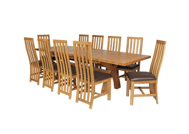 Country Oak 280cm Extending Cross Leg Square Table and 10 Dorchester Brown Leather Chairs