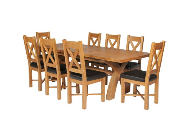 Country Oak 280cm Extending Cross Leg Square Table and 8 Grasmere Brown Leather Chairs