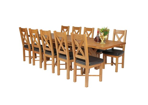 Country Oak 280cm Extending Cross Leg Square Table and 10 Grasmere Brown Leather Chairs