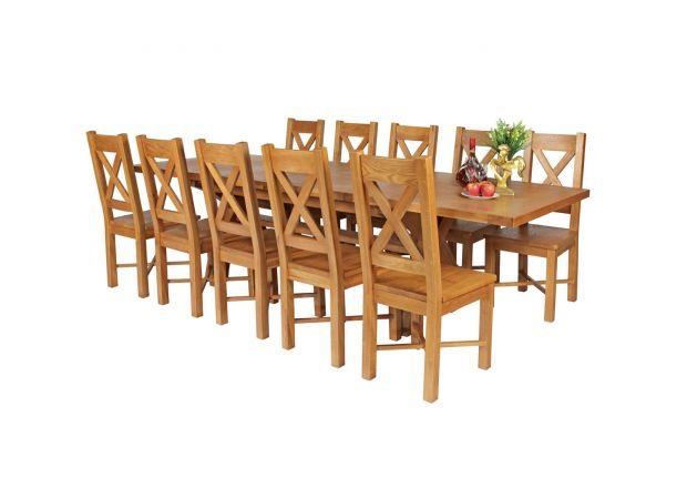 Country Oak 280cm Extending Cross Leg Square Table and 10 Grasmere Timber Seat Chairs