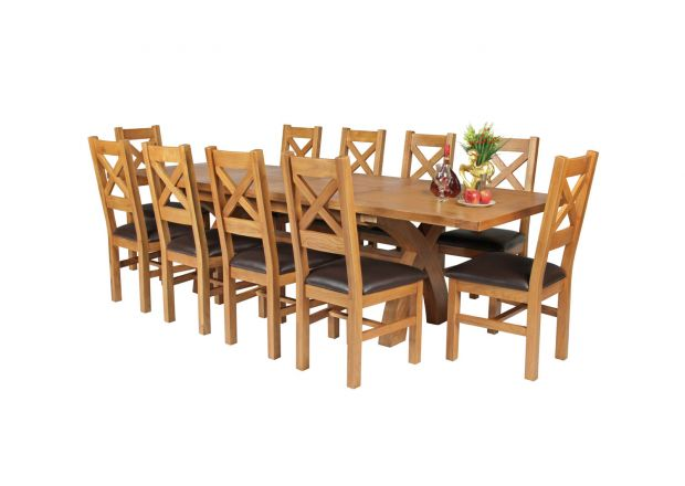 Country Oak 280cm Extending Cross Leg Square Table and 10 Windermere Brown Leather Chairs