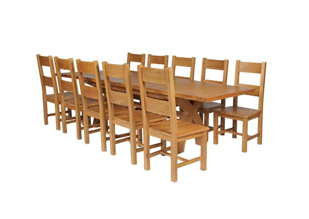 Country Oak 280cm Extending Cross Leg Square Table and 10 Chester Timber Seat Chairs