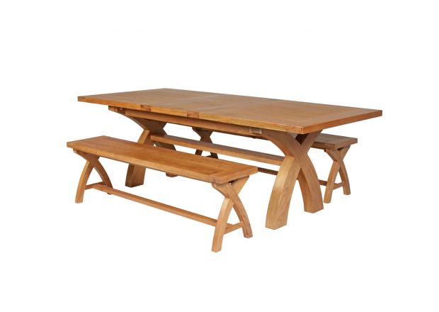 Country Oak 280cm Extending Cross Leg Square Table and 2 160cm Cross Leg Bench Set