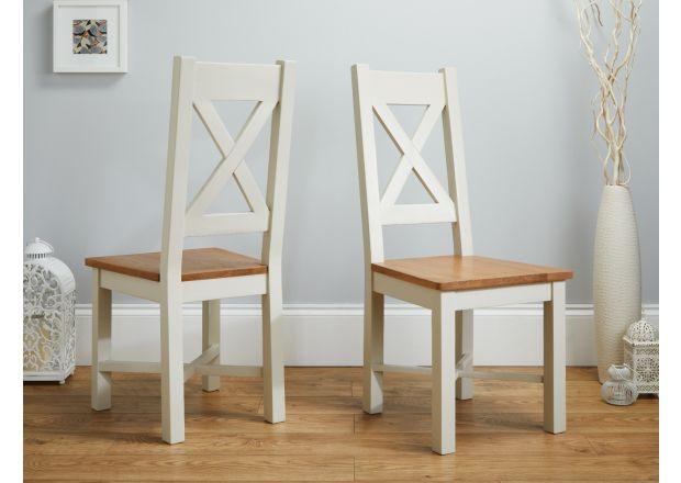 Grasmere Cross Back Grey Painted Chair With Solid Oak Seat