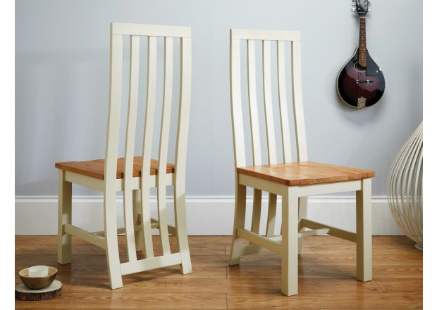 Dorchester Slatted Cream Painted Chair Solid Oak Seat - WINTER SALE