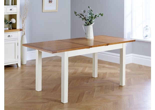 Country Oak 140cm 180cm Butterfly Extending Cream Painted Dining Table