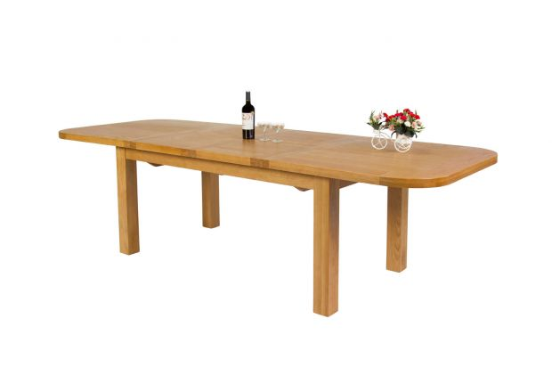 Country Oak 2.8m Double Butterfly Extending Standard Leg Table With Oval Ends