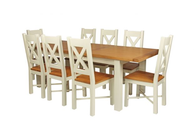 Country Oak 230cm Cream Painted Extending Dining Table and 8 Grasmere Cream Painted Chairs