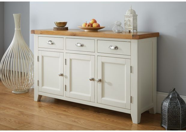 Country Cottage 140cm Grey Painted Large Oak Sideboard - WINTER SALE