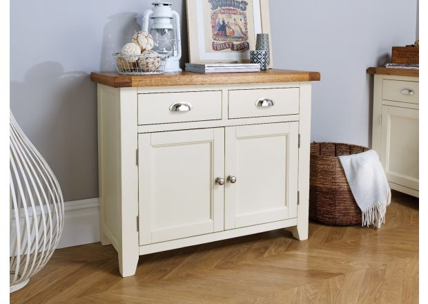 Country Cottage 100cm Cream Painted Oak Sideboard - WINTER SALE