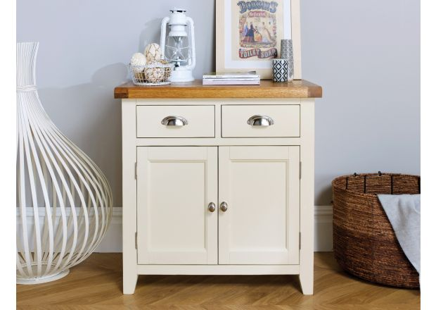 Country Cottage 80cm Cream Painted Small Oak Sideboard - WINTER SALE
