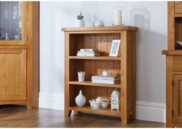 Country Oak Small Low Bookcase - SPRING SALE