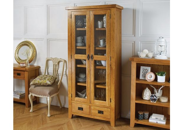 Country Oak Tall Glass Display Cabinet Unit