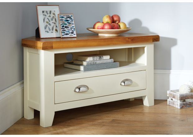 Country Cottage Cream Painted Corner TV Unit With Drawer - WINTER SALE