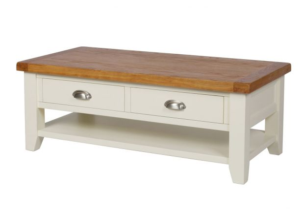 Country Cottage Cream Painted Large 4 Drawer Oak Coffee Table With Shelf