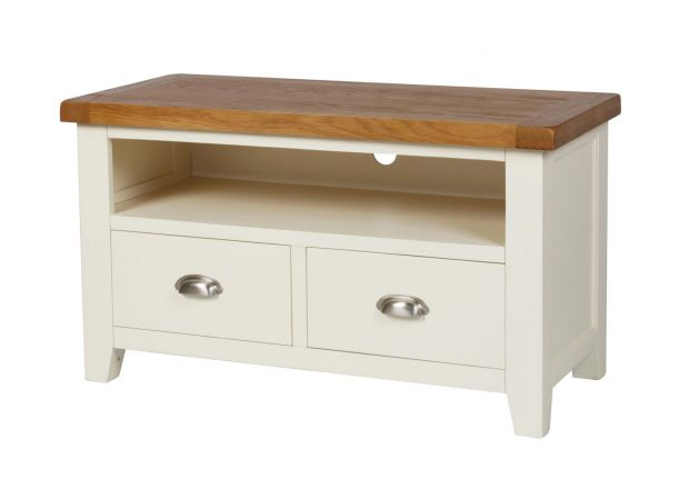 Country Cottage Cream Painted 2 Drawer Oak TV Unit