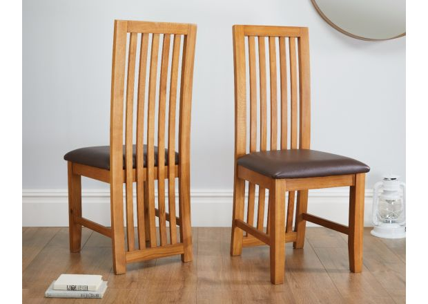 Cotswold Brown Leather Solid Oak Dining Room Chairs
