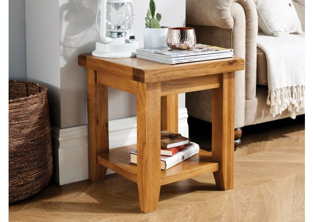 Country Oak Lamp Table With Shelf