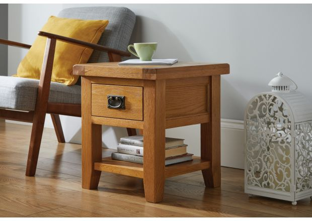 Country Oak Lamp Table With Drawer and Shelf