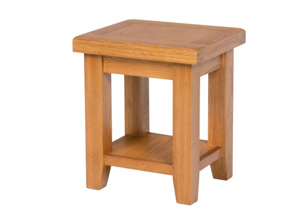Country Oak Petite Lamp Table With A Shelf
