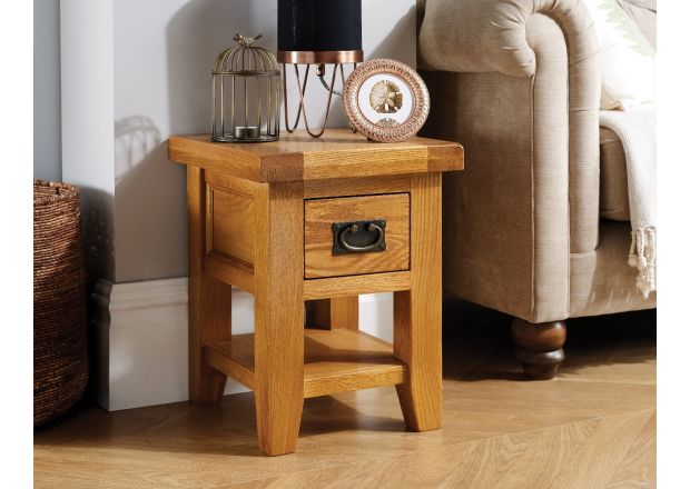 Country Oak Petite Lamp Table With Drawer Shelf