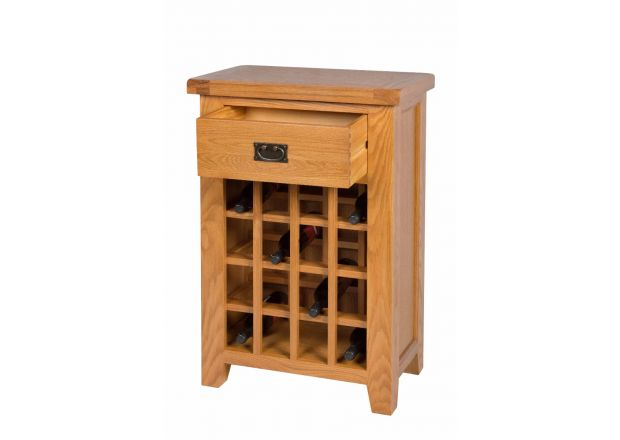 Country Oak Wine Cabinet with Drawer